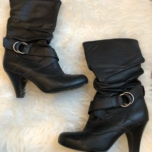 Kelly & Katie Black Slouch Buckle Boot